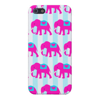 Hot Pink Teal Turquoise Blue Elephants on Striped Case For The iPhone 5