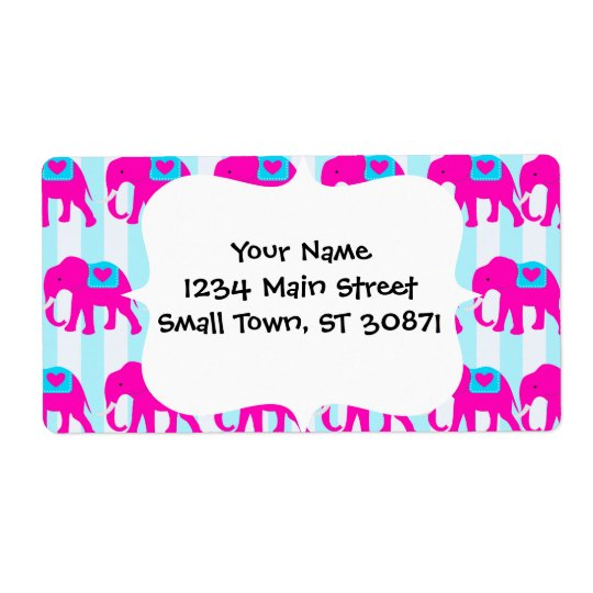 Hot Pink Teal Turquoise Blue Elephants on Striped Shipping Label