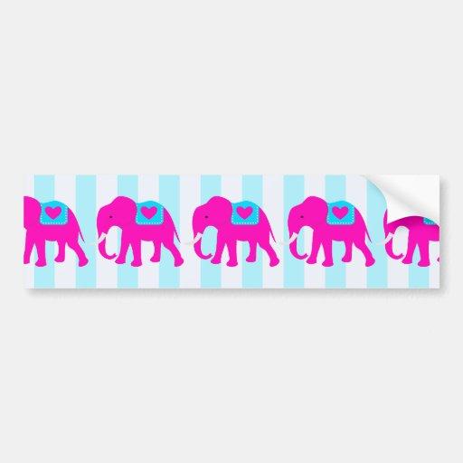 Hot Pink Teal Turquoise Blue Elephants on Stripes Bumper Sticker