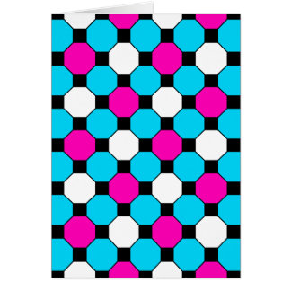 Hot Pink Teal White Black Squares Hexagons Card