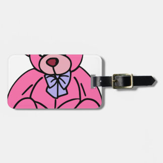 Hot Pink Teddy Bear Cute and Huggable Luggage Tag