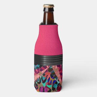 Hot Pink Textured Cheetah Bottle Cooler