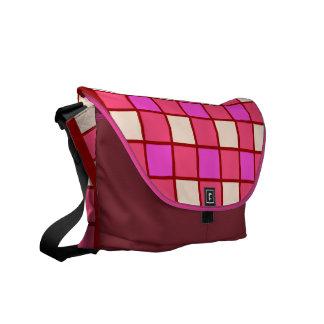 Hot Pink Tile Pattern Messenger Bags