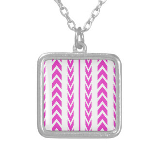 Hot Pink Tire Tread Silver Plated Necklace