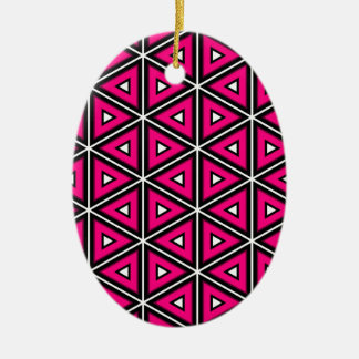 Hot pink triangles ceramic ornament