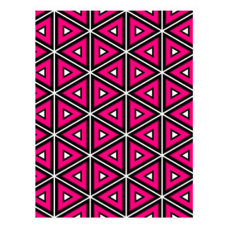 Hot pink triangles postcard