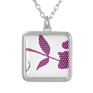 hot pink triangles silver plated necklace