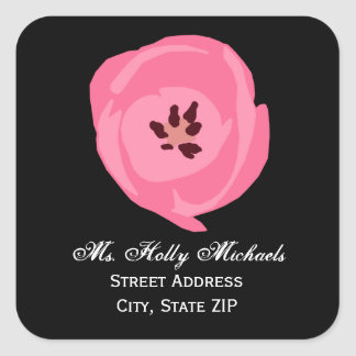Hot Pink Tulip Address Label Sticker