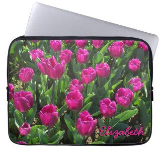 Hot Pink Tulips Beautiful Personalized Laptop Sleeve