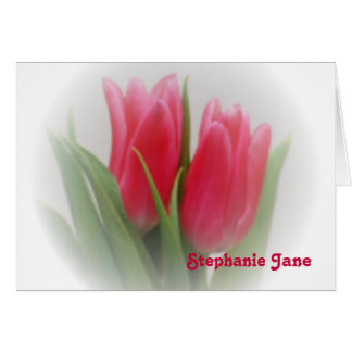 Hot Pink Tulips Note Card