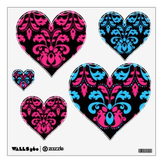 Hot pink turquoise and black damask heart set wall sticker