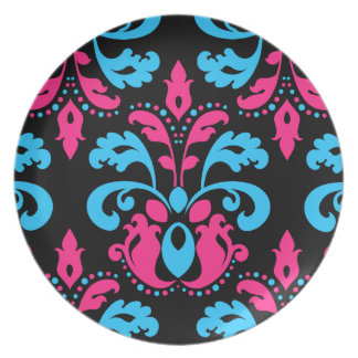 Hot pink turquoise and black damask plate