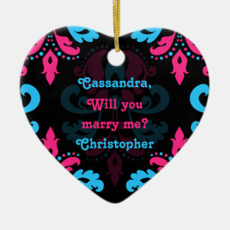 Hot pink turquoise and black damask proposal ceramic heart ornament