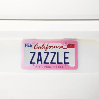 "Hot Pink Typography | ""She Persisted."" License Plate Frame"