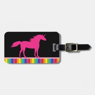 Hot Pink Unicorn on Black and Rainbow Background Luggage Tag