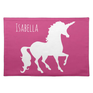 Hot Pink Unicorn Silhouette Girls Personalized Placemat
