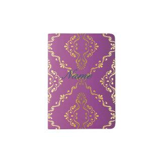 Hot pink,vintage,damask,gold,pattern,antique,ruby, passport holder