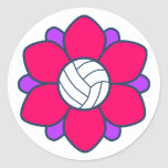 Hot Pink Volleyball Girl Round Sticker