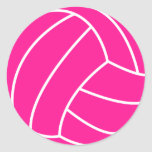 Hot Pink Volleyball Round Sticker
