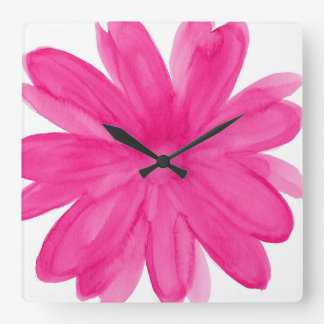 Hot Pink Watercolor Flower Square Wall Clock