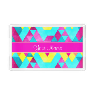 Hot Pink Watercolor Geometric Triangles Acrylic Tray