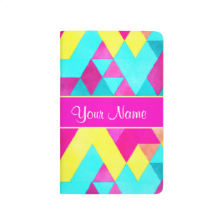Hot Pink Watercolor Geometric Triangles Journal