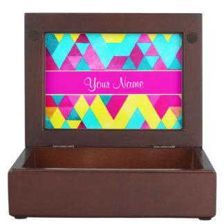 Hot Pink Watercolor Geometric Triangles Keepsake Box