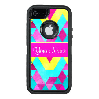 Hot Pink Watercolor Geometric Triangles OtterBox Defender iPhone Case