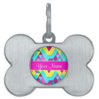 Hot Pink Watercolor Geometric Triangles Pet Name Tag
