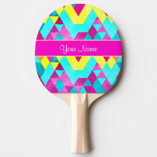 Hot Pink Watercolor Geometric Triangles Ping Pong Paddle