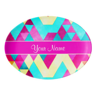 Hot Pink Watercolor Geometric Triangles Porcelain Serving Platter