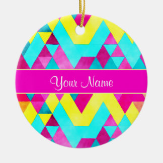 Hot Pink Watercolor Geometric Triangles Round Ceramic Ornament