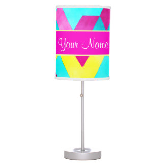 Hot Pink Watercolor Geometric Triangles Table Lamp