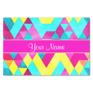 Hot Pink Watercolor Geometric Triangles Tissue Paper