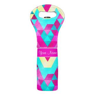 Hot Pink Watercolor Geometric Triangles Wine Bag