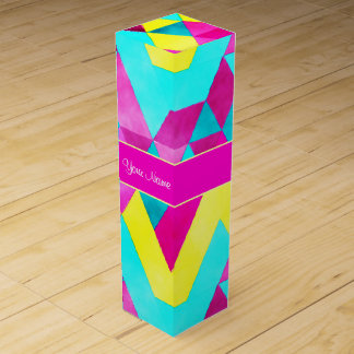 Hot Pink Watercolor Geometric Triangles Wine Box