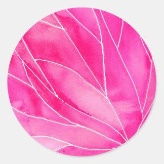Hot Pink Watercolour Break Classic Round Sticker
