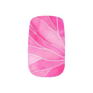 Hot Pink Watercolour Break Minx Nail Art