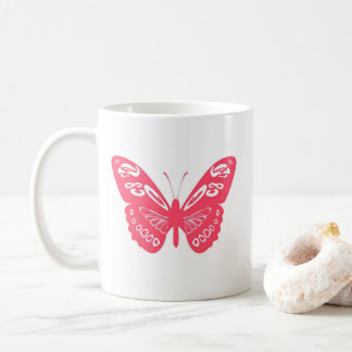 Hot Pink Whimsical Butterfly Personalized Mug