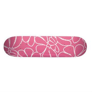Hot Pink Whimsical Ikat Floral Doodle Pattern Skate Board Decks