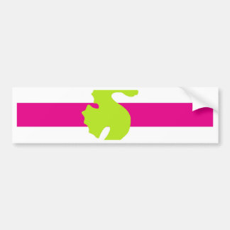Hot Pink White and Green Seahorse Bumper Sticker