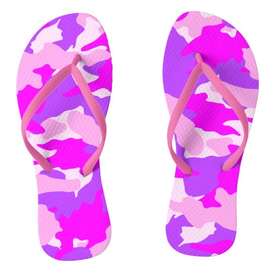 Hot Pink White and Purple Camo Military Flip Flops