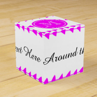 Hot Pink White Aztec Arrows Monogram Wedding Favor Box