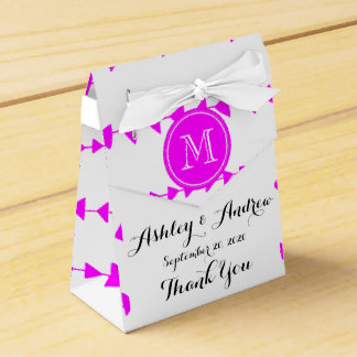 Hot Pink White Aztec Arrows Monogram Wedding Favor Boxes