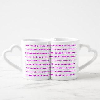 Hot Pink White Aztec Arrows Pattern Coffee Mug Set