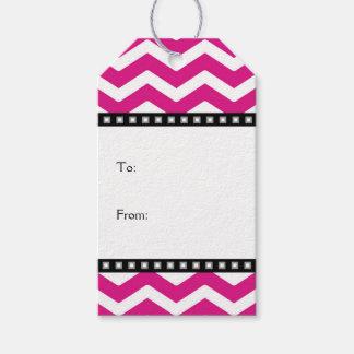 Hot Pink White Black Chevron Gift Tags