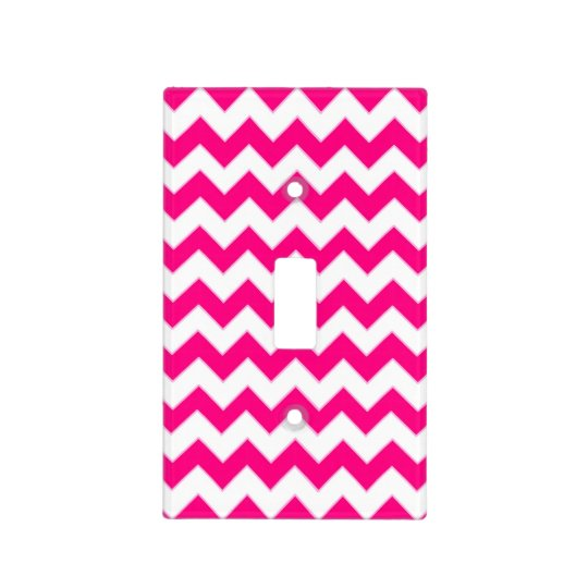 Hot Pink & White Chevron Pattern Light Switch Cover