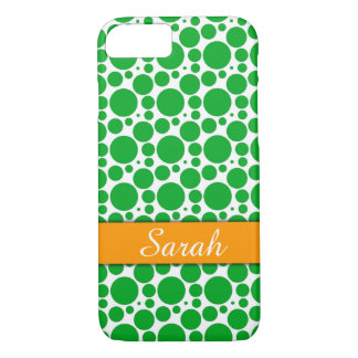 Hot Pink & White Circles Green Band, Personalized iPhone 8/7 Case