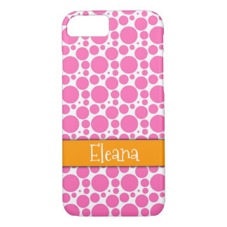 Hot Pink & White Circles Orange Band, Personalized iPhone 8/7 Case