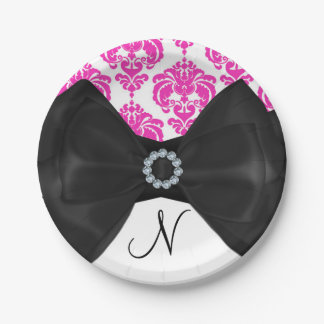Hot Pink & White Damask Bling Bow Sweet 16 Party Paper Plate